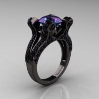 French Vintage 14K Black Gold 3.0 CT Alexandrite Black Diamond Pisces Wedding Ring Engagement Ring Y228-14KBGBDAL