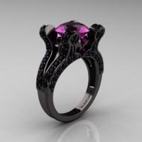 French Vintage 14K Black Gold 3.0 CT Amethyst Black DIamond Pisces Wedding Ring Engagement Ring Y228-14KBGBDAM