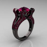 French Vintage 14K Black Gold 3.0 CT Raspberry Red Garnet Pisces Wedding Ring Engagement Ring Y228-14KBGRRG