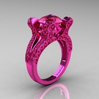 French Vintage 14K Pink Gold 3.0 CT Pink Sapphire Pisces Wedding Ring Engagement Ring Y228-14KPGPS