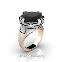 Italian 14K Two Tone White Rose Gold 10.0 Ct Black Diamond Bridal Cocktail Ring R51-14KWRGBD