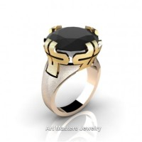 Italian 14K Two Tone Yellow Rose Gold 10.0 Ct Black Diamond Bridal Cocktail Ring R51-14KYRGBD