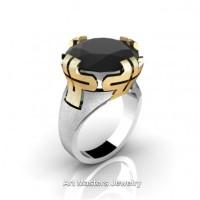 Italian 14K Two Tone Yellow White Gold 10.0 Ct Black Diamond Bridal Cocktail Ring R51-14KYWGBD