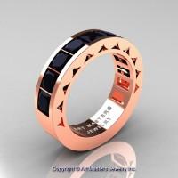 Mens Modern 14K Rose Gold Princess Black Diamond Channel Set Wedding Ring R274M-14KRGBD