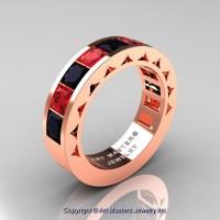 Mens Modern 14K Rose Gold Princess Black Diamond Ruby Channel Set Wedding Ring R274M-14KRGRBD