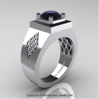 Mens Modern Classic 14K White Gold 2.0 Ct Black and White Diamond Designer Wedding Ring R338M-14KWGDBD