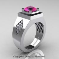Mens Modern Classic 14K White Gold 2.0 Ct Pink Sapphire Diamond Designer Wedding Ring R338M-14KWGDPS