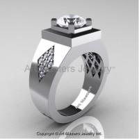 Mens Modern Classic 14K White Gold 2.0 Ct White Sapphire Diamond Designer Wedding Ring R338M-14KWGDWS