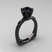 Modern Antique 14K Black Gold 1.20 CT Princess Marquise Black Diamond Solitaire Ring R219-14KBGBD