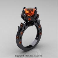 Modern Antique 14K Black Gold 3.0 Ct Orange Sapphire Solitaire Engagement Ring Wedding Ring R214-14KBGOS