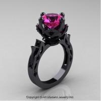 Modern Antique 14K Black Gold 3.0 Ct Pink Sapphire Black Diamond Solitaire Engagement Ring Wedding Ring R214-14KBGBDPS