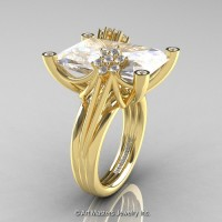 Modern Bridal 14K Yellow Gold Radiant Cut 15.0 Ct Russian Cubic Zirconia Diamond Fantasy Cocktail Ring R292-14KYGDCZ