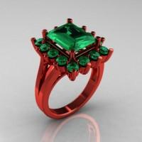Modern Victorian 14K Red Gold 4.0 CT Emerald Designer Engagement Ring R217-14KRGEM