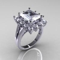 Modern Victorian 950 Platinum 4.0 Carat White Sapphire CZ Engagement Ring R217-PLATWSCZ