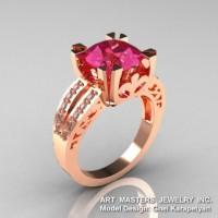 Modern Vintage 14K Rose Gold 3.0 Ct Tourmaline Diamond Solitaire Ring R102-14KRGDT