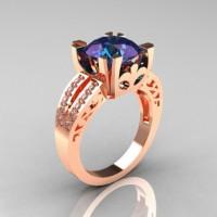 Modern Vintage 14K Rose Gold 3.0 Carat Russian Chrysoberyl Alexandrite Diamond Solitaire Ring R102-14KRGDAL