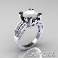 Modern Vintage 14K White Gold 3.0 Ct White Agate Diamond Solitaire Ring R102-14KWGWA