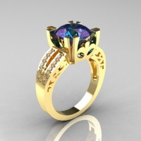 Modern Vintage 14K Yellow Gold 3.0 Carat Russian Chrysoberyl Alexandrite Diamond Solitaire Ring R102-14KYGDAL