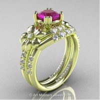 Nature Inspired 14K Green Gold 1.0 Ct Amethyst Diamond Leaf and Vine Engagement Ring Wedding Band Set R245S-14KGRGDAM