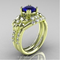 Nature Inspired 14K Green Gold 1.0 Ct Blue Sapphire Diamond Leaf and Vine Engagement Ring Wedding Band Set R245S-14KGRGDBS
