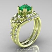 Nature Inspired 14K Green Gold 1.0 Ct Emerald Diamond Leaf and Vine Engagement Ring Wedding Band Set R245S-14KGRGDEM