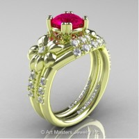 Nature Inspired 14K Green Gold 1.0 Ct Rose Ruby Diamond Leaf and Vine Engagement Ring Wedding Band Set R245S-14KGRGDRR