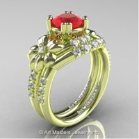 Nature Inspired 14K Green Gold 1.0 Ct Ruby Diamond Leaf and Vine Engagement Ring Wedding Band Set R245S-14KGRGDR