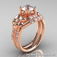 Nature Inspired 14K Rose Gold 1.0 Ct Russian CZ Diamond Leaf and Vine Engagement Ring Wedding Band Set R245S-14KRGDCZ