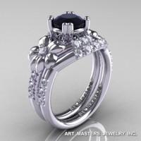 Nature Inspired 14K White Gold 1.0 Ct Black and White Diamond Leaf and Vine Engagement Ring Wedding Band Set R245S-14KWGDBD