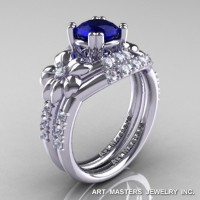 Nature Inspired 14K White Gold 1.0 Ct Blue Sapphire Diamond Leaf and Vine Engagement Ring Wedding Band Set R245S-14KWGDBS