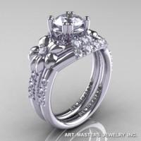 Nature Inspired 14K White Gold 1.0 Ct White Sapphire Diamond Leaf and Vine Engagement Ring Wedding Band Set R245S-14KWGDWS