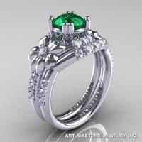 Nature Inspired 14K White Gold 1.0 Ct Emerald Diamond Leaf and Vine Engagement Ring Wedding Band Set R245S-14KWGDEM