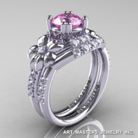 Nature Inspired 14K White Gold 1.0 Ct Light Pink Sapphire Diamond Leaf and Vine Engagement Ring Wedding Band Set R245S-14KWGDLPS