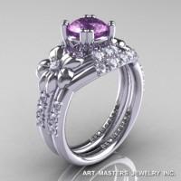 Nature Inspired 14K White Gold 1.0 Ct Lilac Amethyst Diamond Leaf and Vine Engagement Ring Wedding Band Set R245S-14KWGDLAM