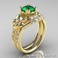 Nature Inspired 14K Yellow Gold 1.0 Ct Emerald Diamond Leaf and Vine Engagement Ring Wedding Band Set R245S-14KYGDEM