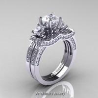 French 950 Platinum Three Stone Russian Cubic Zirconia Diamond Engagement Ring Wedding Band Set R182S-PLATDCZ
