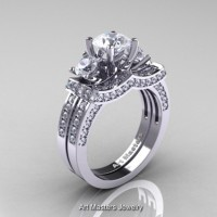 French 950 Platinum Three Stone White Sapphire Diamond Engagement Ring Wedding Band Set R182S-PLATDWS