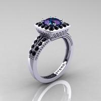 Renaissance Classic 14K White Gold 1.20 Carat Alexandrite Black Diamond Engagement Ring R220-14KWGBDAL
