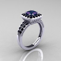 Renaissance Classic 14K White Gold 1.23 CT Princess Alexandrite Black Diamond Engagement Ring R220P-14KWGBDAL