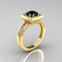 Renaissance Classic 18K Yellow Gold 1.0 Carat Black and White Diamond Engagement Ring R220-18KYGDBD