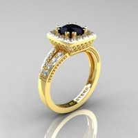 Renaissance Classic 18K Yellow Gold 1.0 Carat Black Moissanite White Diamond Engagement Ring R220-18KYGDBM