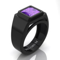 Mens Modern 14K Black Gold 3.0 Ct Princess Amethyst Wedding Ring R1132-14KBGAM