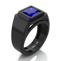 Mens Modern 14K Black Gold 3.0 Ct Princess Blue Sapphire Wedding Ring R1132-14KBGBS