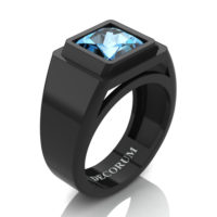 Mens Modern 14K Black Gold 3.0 Ct Princess Blue Topaz Wedding Ring R1132-14KBGBT
