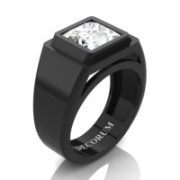 Mens Modern 14K Black Gold 3.0 Ct Princess White Sapphire Wedding Ring R1132-14KBGWS