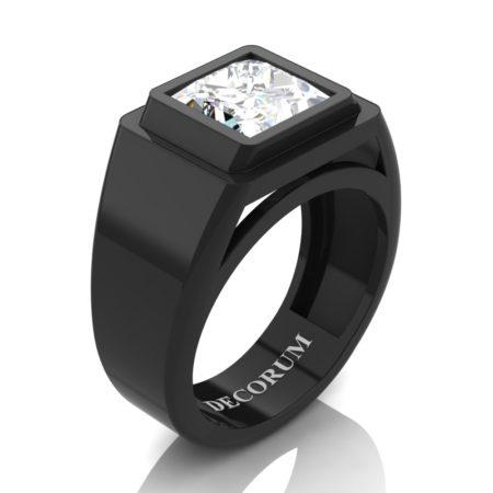 Decorum-Mens-Modern-14K-Black-Gold-3-Carat-Princess-Diamond-Wedding-Ring-R1132-14KBGD