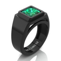 Mens Modern 14K Black Gold 3.0 Ct Princess Emerald Wedding Ring R1132-14KBGEM
