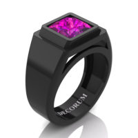 Mens Modern 14K Black Gold 3.0 Ct Princess Pink Sapphire Wedding Ring R1132-14KBGPS