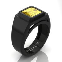 Mens Modern 14K Black Gold 3.0 Ct Princess Yellow Sapphire Wedding Ring R1132-14KBGYS