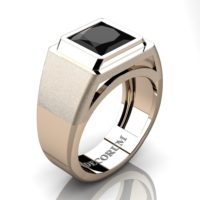 Mens Modern 14K Rose Gold 3.0 Ct Princess Black Sapphire Sapphire Wedding Ring R1132-14KRGBLS